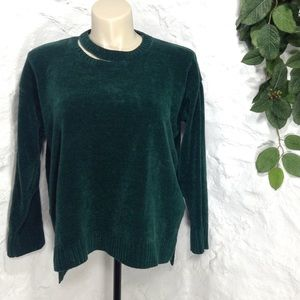 Sophie Rue emerald velvet chenille pullover